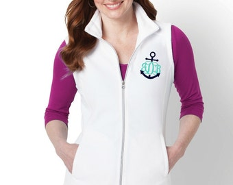 Monogram Micro Fleece Vest with Pockets Zip Up Layering Piece Plus Size Available 3X 4X