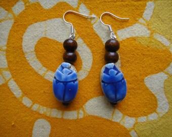 Ancient Egyptian Blue Scarab Beaded Earrings