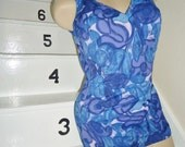Stunning Blue Floral Ruched Vintage 1950's Womens Roxanne Swimsuit M L