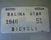 Vintage Bicycle License Plate Tag - Part of a big collection available