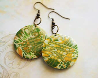 Green earrings from polymer clay OOAK - mustard jewelry, yellow earrings, nature, mother's day, gift for her - ready to ship
