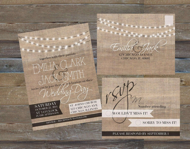 Modern rustic burlap string lights wedding invitations and for Burlap lights