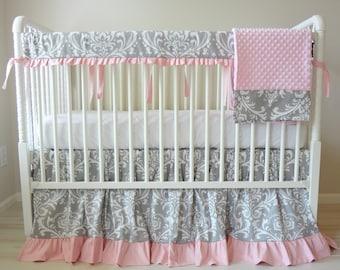 Ruffled Gray & Pink Damask Crib Rail baby Bedding set.