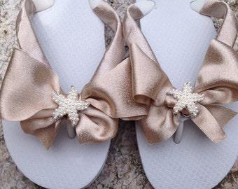 BEACH WEDDING Flip Flops Wedges.Bridal Flip Flops.Beach Wedding Shoes.Bridesmaids Shoes Sandals.Bride Shoes