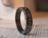CUSTOM for Cath - Wedding Band 6mm Width Size 9-1/8 Oxidized Sterling Silver 18k Gold