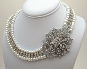 Wedding Jewelry, Bridal Pearl Necklace, Wedding Statement Necklace, Bridal Jewelry, Bridal Rhinestone Necklace 40% off - PN26