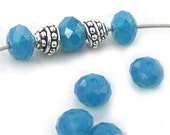 Swarovski Crystal Caribbean Blue Opal No. 5040 Rondelle Beads 6mm