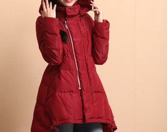 Loose casual medium-length cotton padded coat outerwear parka -women clothing