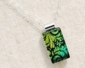 Fused Glass Jewelry, Dichroic Glass Pendant, Small - Leaf, Plumes, Spring, Summer, Nature, Floral - Green, Gold, Black (Item #10648-P)