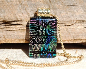 Dichroic Fused Glass Jewelry, Dichroic Glass Pendant, Small - Hieroglyphics, Aztec, Tribal  - Pink Purple Green Blue (Item #10594-P)