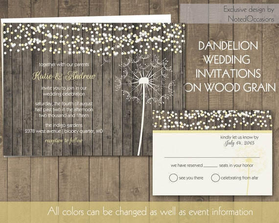 dandelion wedding invitations rustic country wedding invite on wood