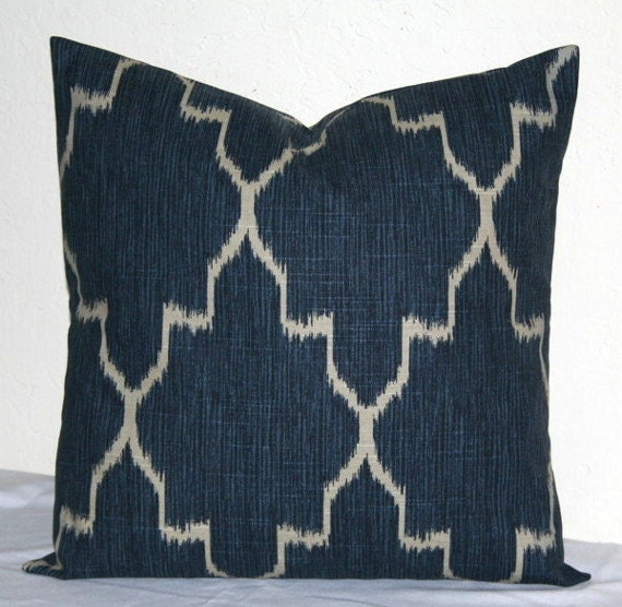 Navy Blue Ikat Moroccan 18 inch Decorative Pillow Covers