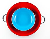 SALE! Half off! Colored Enamel Pans, Red and Blue