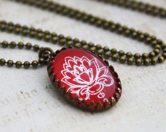 Petite Oval Red Damask Necklace - Brass and Glass