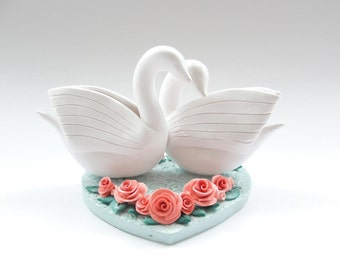 Coral and teal swan wedding cake topper handmade from polymer clay