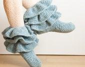 CROCHET PATTERN instant download - Jolly Strider Boots - ruffled teal blue socks tutorial PDF
