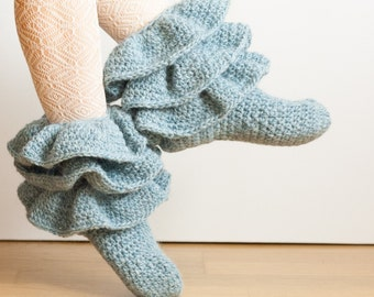 CROCHET PATTERN instant download - Jolly Strider Boots - ruffled teal blue socks tutorial PDF