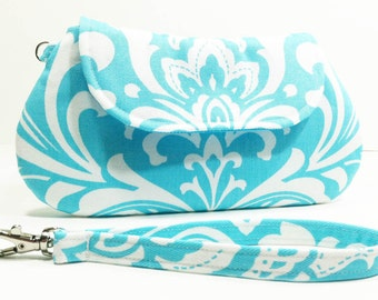 Small Clutch Purse - Aqua Blue White Damask Clutch
