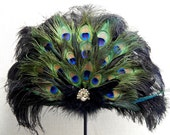 "Victorian Peacock Black Ostrich  Feather Fan Wedding Bridal Party 24x18"" Hand Fan"