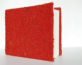 Red Plant Paper Journal with Coptic Stitch Binding and Recycled Pages - Blank Hand-Sewn Notebook