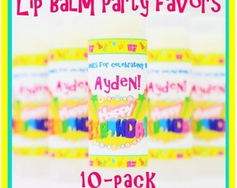LIP BALM Birthday Party Favor 10-Pack - choose your flavor, personalized label, natural, kids, girls, teen, tween, slumber party