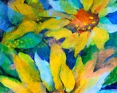 Collage Watercolor Sunflower Trio by Martha Kisling
