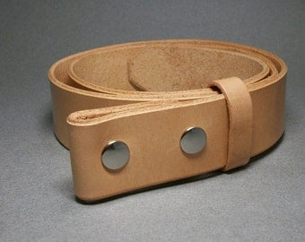 Leather Belt Natural Snap Strap Handcrafted Handmade