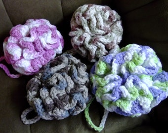 Crocheted bath puffs sponges scrubbies 100% cotton yarn handmade variegated