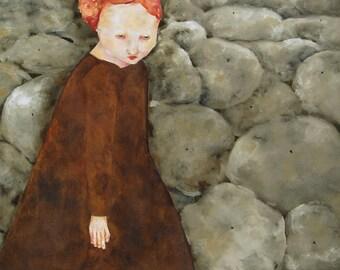 "Giclee art print portrait of original painting.  figure in landscape.  red head woman. ""Fae"""