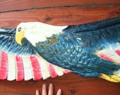 Flying Americana Bald Eagle 5ft red white blue chainsaw carved national bird patriotic sculpture indoor/outdoor wildbird wood sculpture art