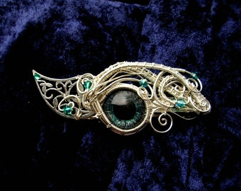 SOLD - Gothic Steampunk Barrette Clip - Dragon Eye - Cat Eye - Evil Eye - Hair Ornament - Teal Blue Silver Green Aqua Color Shifting