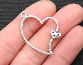 8 Heart Charms Antique  Silver Tone - SC3087