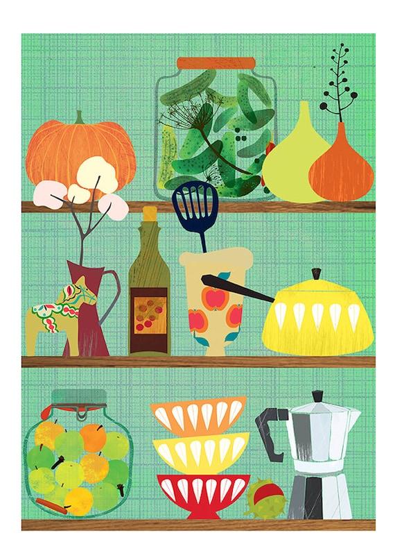 Kitchen shelf- art print