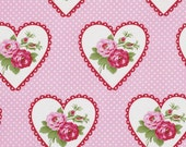 Valentine Fabric, Tanya Whelan, Valentine Rose in Pink, One Yard