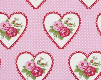 Tanya Whelan Fabric, Valentine Fabric, Valentine Rose in Pink, Heart Fabric, One Yard