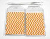 Luggage Tags Set of 2 Orange Chevron