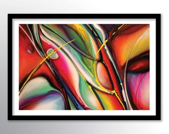 11x17 Abstract Painting PRINT on Paper Cover Stock, Very Colorful Wall Art by Federico Farias