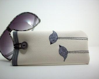 Sunglass case in cream with grey birds