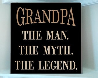 Grandpa the man etsy personalized wooden sign w vinyl quote grandpa the man the myth the legend sciox Gallery