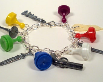 Clue Charm Bracelet, Upcycled Jewelry, Clue Game Pieces, Recycled Game Pieces