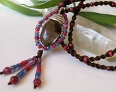 Smokey quartz necklace wire wrapped - Sterling Silver - natural gemstones - macrame - tasseled - brown and purple stone necklace