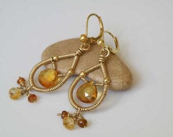 Citrine gemstone earrings wire wrapped with Gold filled gauge - Hessonite Garnet - Elegant handmade jewelry