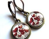 Red Poppy Earrings Glass Fashion Jewelry
