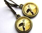 Sepia Bird Dangle Earrings Hummingbird Fashion Jewelry