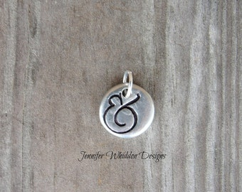 Ampersand Charm - Ampersand Pendant - Pewter Pebble Charm -Gifts for Her