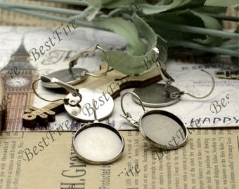 10pcs Antique Silver French Earwires Hook With Round Cabochon size 18mm Pad,Earrings hook,earrings base