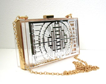 Silver Mirror Transparent Box Clutch - Clear clutch, Silver Clutch, Art Deco Clutch, Clear Purse, Transparent Purse, Crossbody Clutch, Small