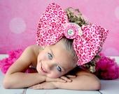 Fabric Bow, Fabric Headband, Over The Top Fabric Bow, Huge Fabric Bow, OTT Bow, OTT Fabric Bow. Leopard Bow