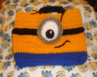 one eye minion style fun wool tote handbag vegan bag despicable me minions