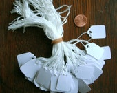 """Price TAGS Jewelry 100 White Medium size 3/4"""" -1""""  hang tag with string, Store, Gift, Pricing, Shop, Cottage, Paper, retail, stamping,"""